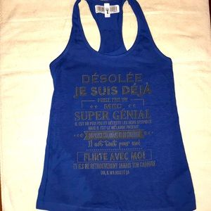 Women's Racerback Tank Top French Saying SIZE S